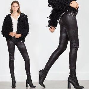 Zara Faux Suede Leather Jeggings Pants Jeans Black